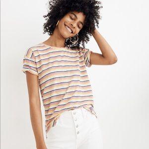 ✨ Madewell Rainbow Stripe Cotton Tee Sz XS✨